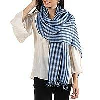 Wool blend shawl, 'Striped Queen in Baby Blue' - Handwoven Striped Wool Blend Shawl in Baby Blue from India