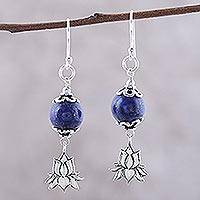 Lapis lazuli dangle earrings, 'Lotus Passion'