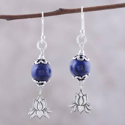 Lapis lazuli dangle earrings, 'Lotus Passion' - Lapis Lazuli Lotus Dangle Earrings from India