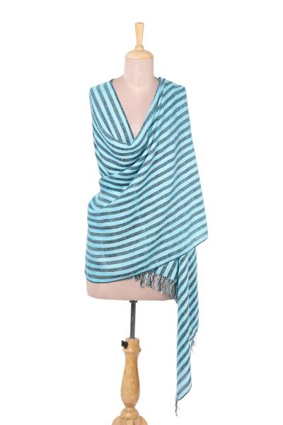 Wool blend shawl, 'Striped Queen in Sky Blue' - Handwoven Striped Wool Blend Shawl in Sky Blue from India