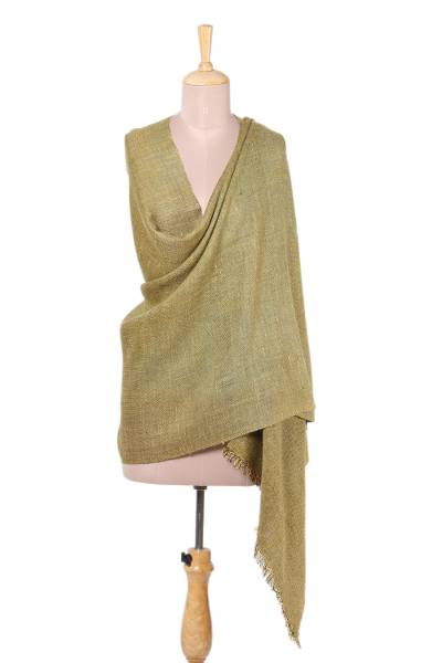 Wool blend shawl, 'Ladakh Landscape' - Handwoven Wool Blend Shawl in Yellow from India