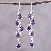 Amethyst dangle earrings, 'Juicy Vine' - Sterling Silver and Amethyst Dangle Earrings from India