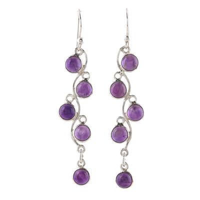 Amethyst dangle earrings, 'Juicy Vine' - Sterling Silver and Amethyst Dangle Earrings from India
