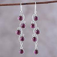 Garnet dangle earrings, 'Juicy Vine' - Sterling Silver and Garnet Dangle Earrings from India