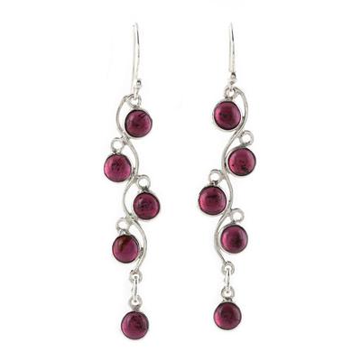 Garnet dangle earrings, 'Juicy Vine' - Sterling Silver and Garnet Dangle Earrings from India