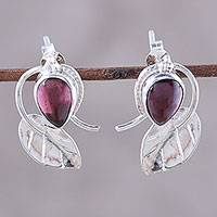 Garnet button earrings, 'Leafy Drops' - Leaf-Shaped Garnet Button Earrings from India