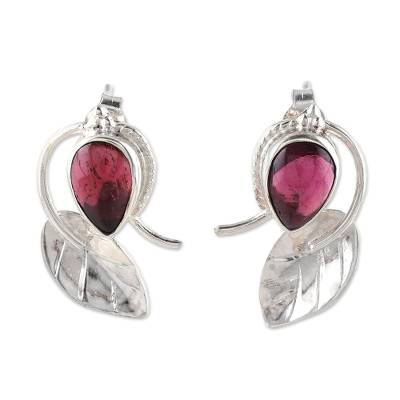 Leaf-Shaped Garnet Button Earrings from India