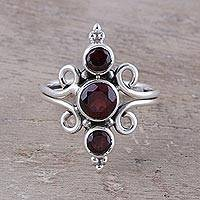 Garnet cocktail ring, 'Trio Glitter' - Garnet Trio Cocktail Ring Crafted in India