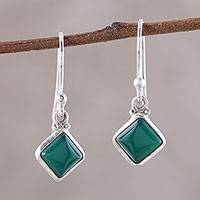 Onyx dangle earrings, 'Happy Kites in Green' - Square Green Onyx Dangle Earrings from India