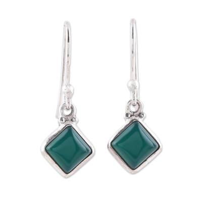 Square Green Onyx Dangle Earrings from India