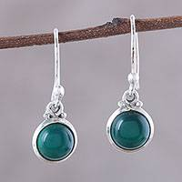 Onyx dangle earrings, 'Happy Glow' - Round Green Onyx Dangle Earrings from India