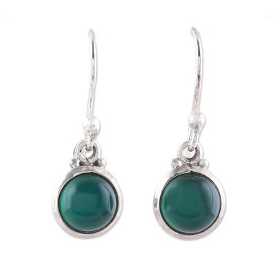 Round Green Onyx Dangle Earrings from India