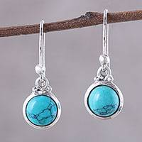 Composite turquoise dangle earrings, Happy Gleam' - Composite Turquoise and Sterling Silver Dangle Earrings