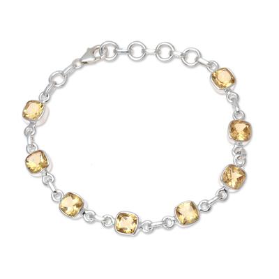Citrine link bracelet, 'Golden Glitz' - 16 Carat Citrine and Sterling Silver Link Bracelet