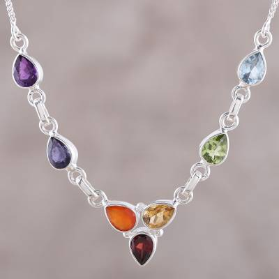 Multi-gemstone pendant necklace, 'Shimmering Harmony' - Multi-Gemstone Sterling Silver Chakra Necklace from India