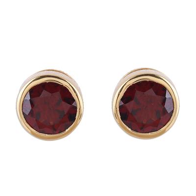Gold plated garnet stud earrings, 'Sparkling World' - Handcrafted 22k Gold Plated Faceted Garnet Stud Earrings