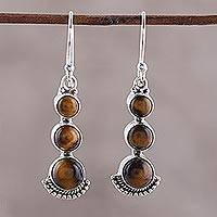 Tiger's eye dangle earrings, 'Triple Glow' - Tiger's Eye and Sterling Silver Dangle Earrings from India