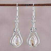 Rutilated quartz dangle earrings, 'Fascinating Droplets' - Golden Rutilated Quartz and Sterling Silver Dangle Earrings