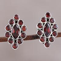 Garnet button earrings,