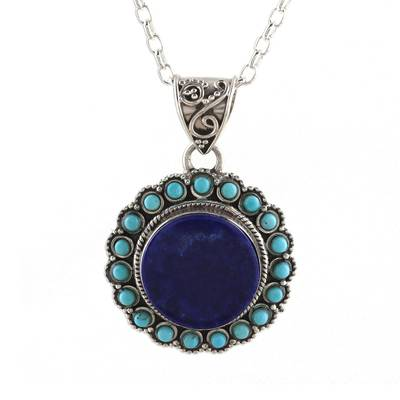 Lapis lazuli pendant necklace, 'Glamorous Bloom' - Lapis Lazuli and Composite Turquoise Pendant Necklace