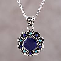Lapis lazuli pendant necklace, 'Magical Bloom' - Lapis Lazuli and Composite Turquoise Flower Pendant Necklace
