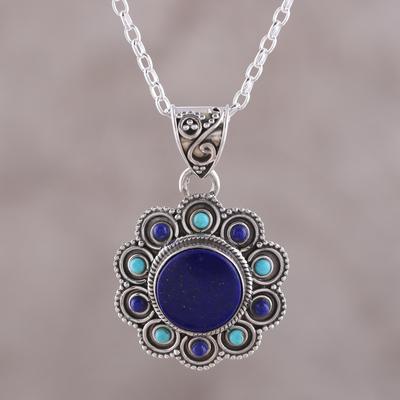 Turquoise Lapiz Gemstone 925 Sterling Silver 35 Long Necklace