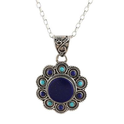Lapis lazuli pendant necklace, 'Magical Bloom' - Lapis Lazuli and Composite Turquoise Flower Pendant Necklace