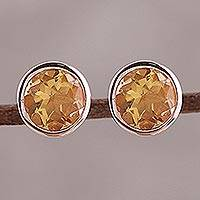 Rose gold plated citrine stud earrings, 'Sparkling World' - 22k Rose Gold Plated Faceted Citrine Stud Earrings