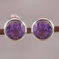 Rose gold plated amethyst stud earrings, 'Sparkling World' - 22k Rose Gold Plated Faceted Amethyst Stud Earrings