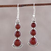 Carnelian dangle earrings, 'Triple Gleam' - Round Carnelian and Sterling Silver Dangle Earrings
