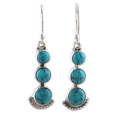 Composite turquoise dangle earrings, 'Triple Gleam' - Round Sterling Silver and Composite Turquoise Earrings