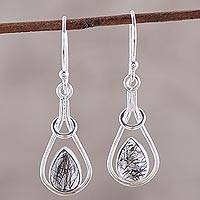Rutilated quartz dangle earrings, 'Droplet Flair' - Drop-Shaped Rutilated Quartz Dangle Earrings from India