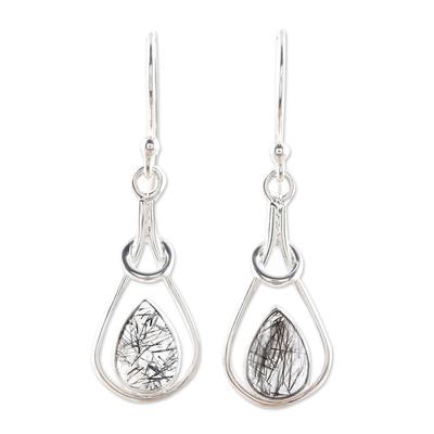 Rutilated quartz dangle earrings, 'Droplet Flair' - Drop-Shaped Rutilated Quartz Dangle Earrings from India