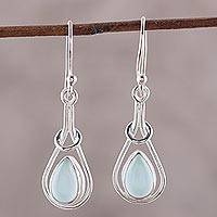 Chalcedony dangle earrings, 'Droplet Flair' - Drop-Shaped Blue Chalcedony Dangle Earrings from India