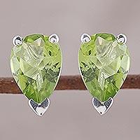 Peridot stud earrings, 'Verdant Gleam'
