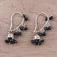 Onyx chandelier earrings, 'Music' - Faceted Onyx Chandelier Earrings from India