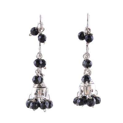Onyx chandelier earrings, 'Music' - Faceted Onyx Chandelier Earrings from India