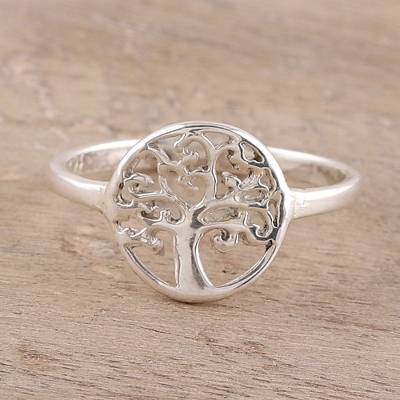 Sterling silver band ring, 'Framed Tree' - Tree-Themed Sterling Silver Band Ring from India