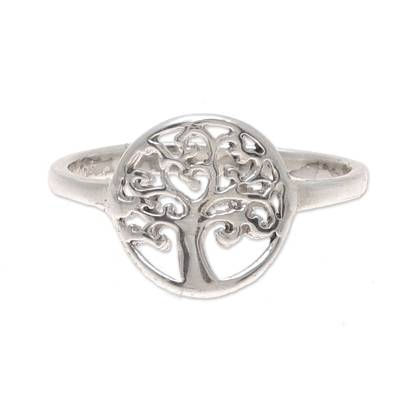 Tree-Themed Sterling Silver Band Ring from India