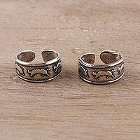 Sterling silver toe rings, 'Dolphin Parade' (pair) - Sterling Silver Dolphin Toe Rings from India (Pair)