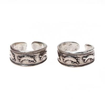 Sterling Silver Dolphin Toe Rings from India (Pair)