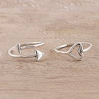 Sterling silver rings, 'Pierce My Heart' (pair) - Sterling Silver Rings from India (Pair)
