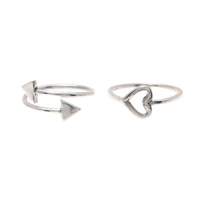 Sterling silver rings, 'Pierce My Heart' (pair) - Sterling Silver Rings from India (Pair)