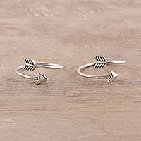 Sterling silver toe rings, 'Arrow Curve' (pair) - Sterling Silver Arrow Toe Rings from India (Pair)