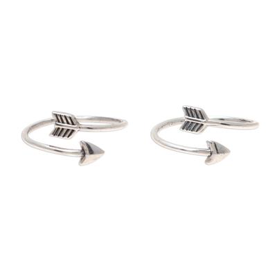 Sterling silver toe rings, 'Arrow Curve' (pair) - Sterling Silver Arrow Toe Rings from India (Pair)