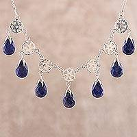 Lapis lazuli pendant necklace, 'Blue Dance' - Lapis Lazuli Waterfall Necklace from India