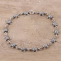 Sterling silver link bracelet, 'Turtle Unison' - Sterling Silver Turtle Link Bracelet from India