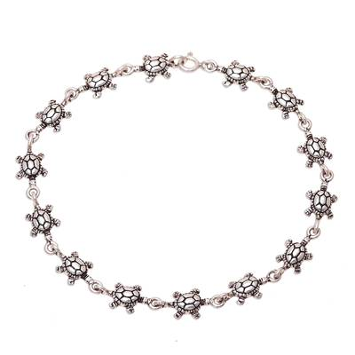 Sterling Silver Turtle Link Bracelet from India