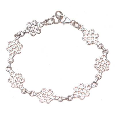 Loop Pattern Sterling Silver Link Bracelet from India