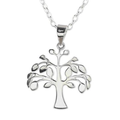 Sterling silver pendant necklace, 'Kalpvriksh Tree' - Sterling Silver Tree Pendant Necklace from India